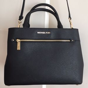 MK Large Leather Satchel HALILEE  Black